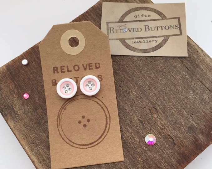 Pink Target Button Earrings