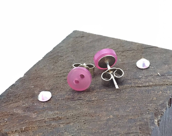 Pink stud earrings, stud earrings, pink buttons, sterling silver, pink, silver studs, tiny earrings, tiny stud earrings, button earrings