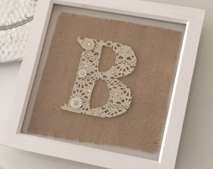 Hessian jute and lace letter frame - choose your letter