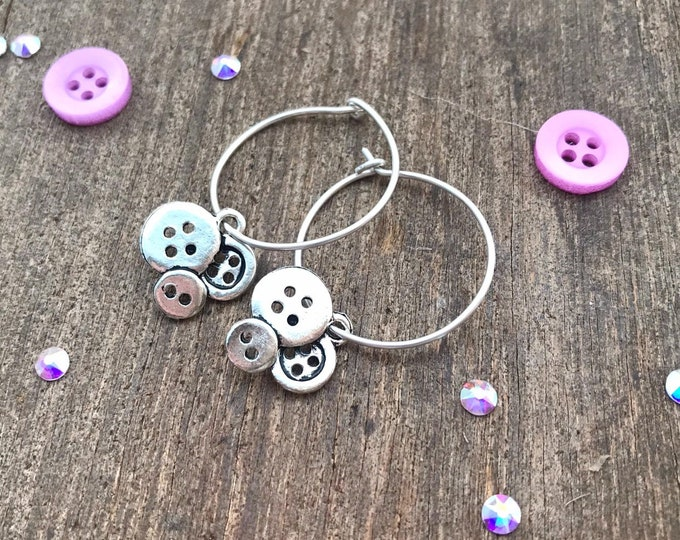 Handmade hoop, handmade hoop earrings, handmade silver hoop earrings, hoop earrings with charm, charm earrings hoops, button earrings,