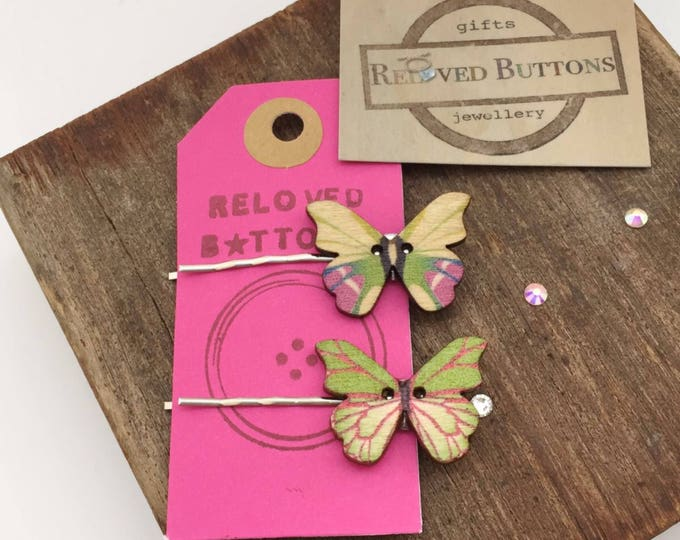 Butterfly hair clip, butterfly gifts, hair accessories, hair pin, hair slide, butterfly wings, hair clip, clip on butterfly, wooden buttons