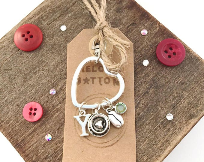 Birthstone keychain, birthstone keyring, birthstone charms, keychain for her, heart keychain, coffee lovers gift, coffee beans, coffee theme