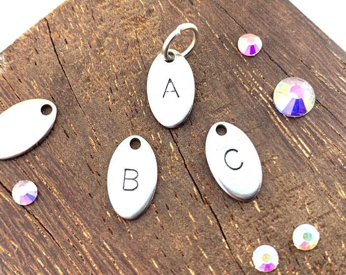 Oval Hand-stamped Letter Charm - one single charm