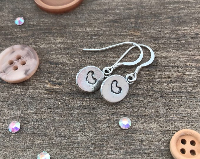 Stamped Heart Earrings