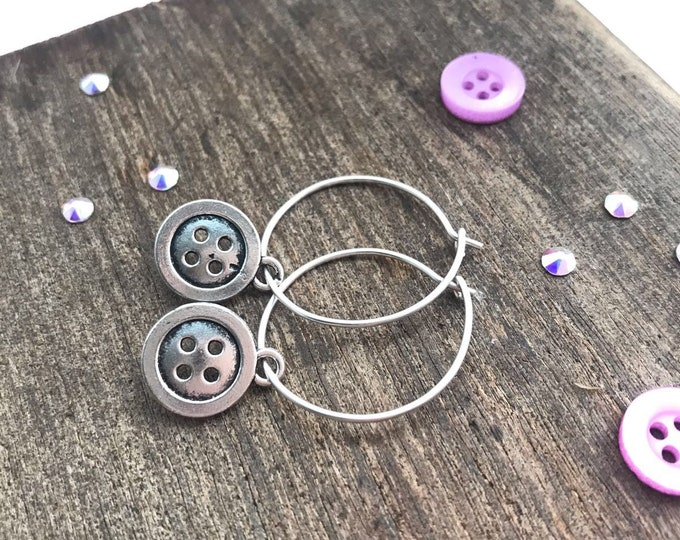 Hoop charm earrings, handmade hoop earrings, hoop earrings with charm, charm earrings hoops, button earrings, sterling silver hoop earrings,