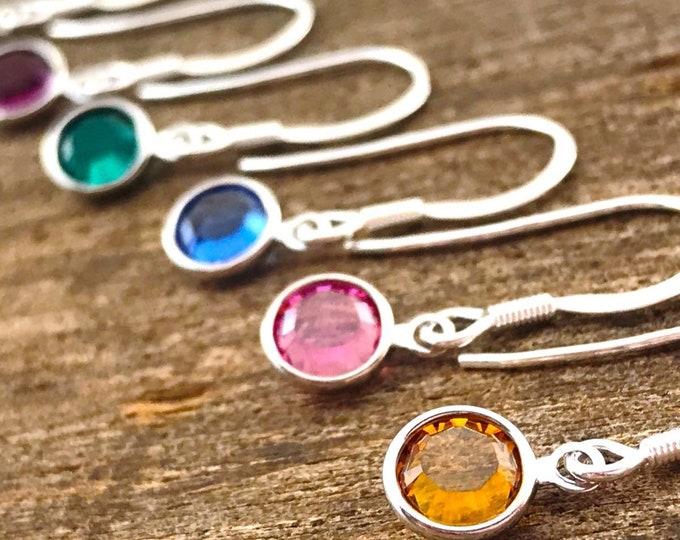 Earrings birthstone, silver birthstone earrings, dangle birthstone earrings, personalised earrings, birthstone earring, swarovski birthstone