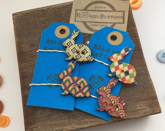 Rabbit lover gift - hair accessories - bunny - rabbits - hair clip - hair pin - hair clips girls - hair slide - wooden button - buttons