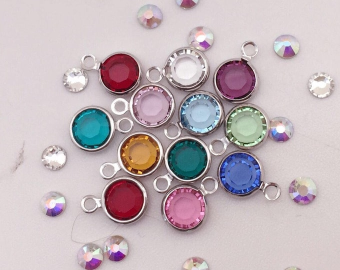 Swarovski birthstone crystal - single 6 mm channel charm