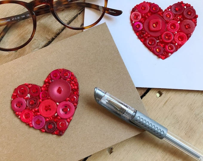 Heart Button Art Card