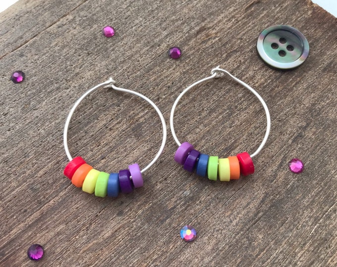 Rainbow earrings, rainbow hoop earrings, handmade hoop earrings, rainbow hoops, rainbow bridge, rainbow baby gift, rainbow lgbt, wire hoops,