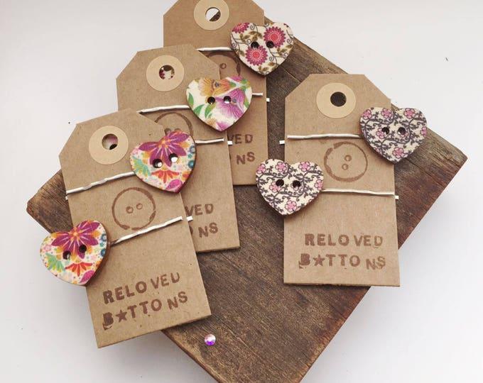 Heart hair clip, heart clip, hair clip, wood heart, wood buttons, hair accessories, button hair clips, button hair pins, heart button, hair,