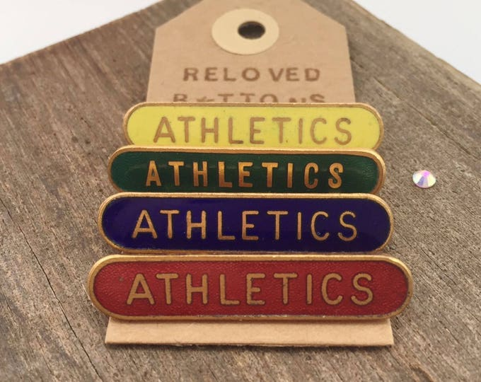ATHLETICS vintage enamel pin set - red, yellow, green & blue