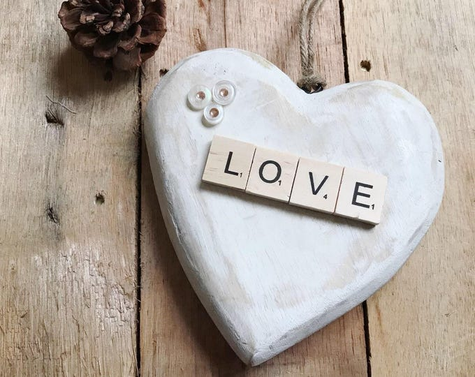 Chunky wooden hanging heart - white shabby chic finish with 'love' letter tiles