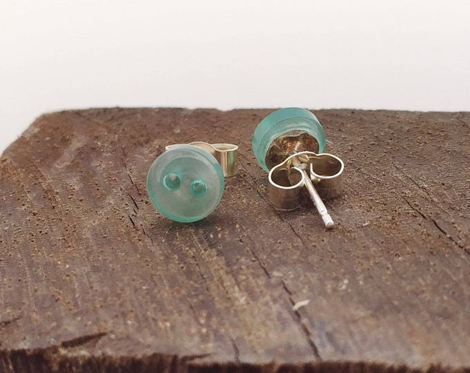 Green stud earrings, stud earrings, tiny stud earrings, sterling silver stud, sterling silver, earrings, green buttons, button studs, green,