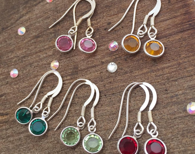 Birthstone earrings - drop earrings - birthstone jewelry - birthstone jewellery - birth stone - swarovski crystal - silver earrings - dangle