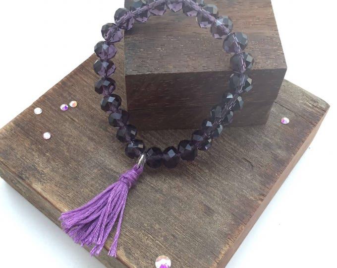 Crystal Tassel Bracelet - Purple