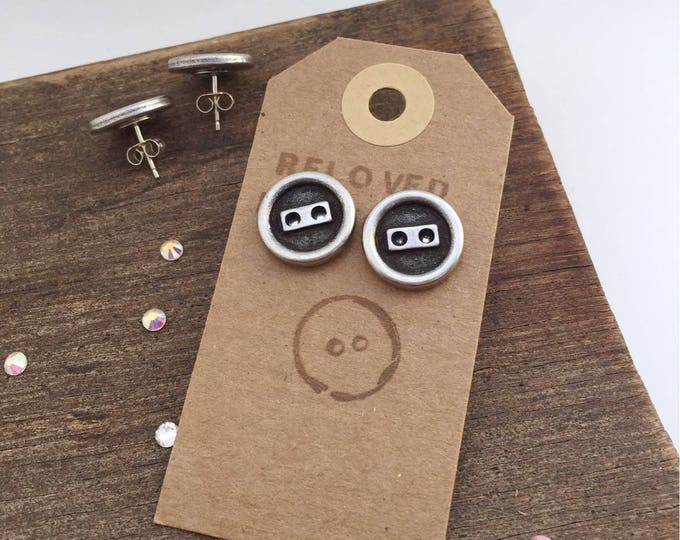 Antique Silver Button Earrings