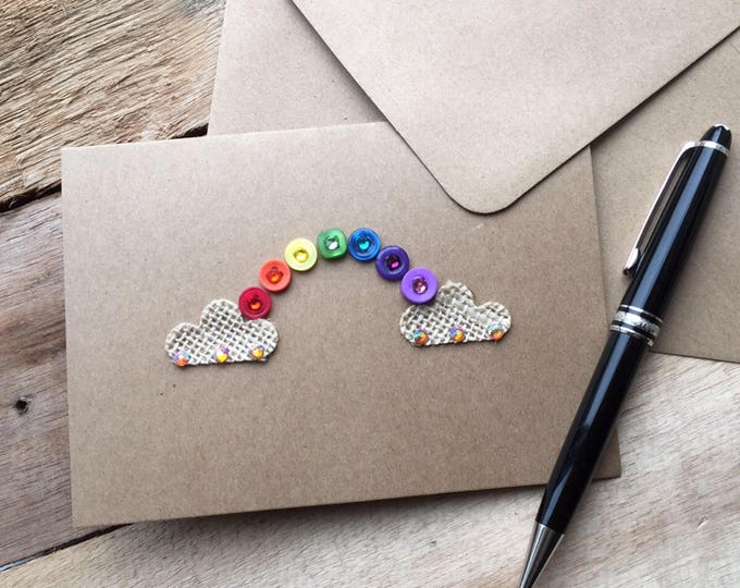 Rainbow Button Art Card