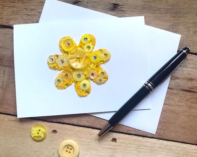 Flower Button Art Card