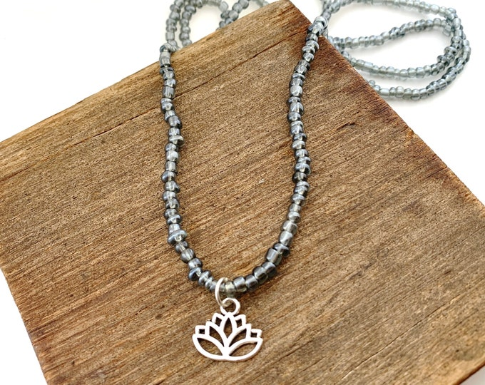 Lotus Flower Long Bead Necklace
