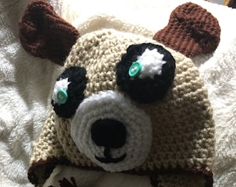 Crocheted Doggie hat for infants and toddlers fits sizes 12-24 months