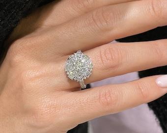 1.5 Carat Diamond Ring, F VS2 Round Diamond, 14K White Gold, Round Shaped, Natural Diamond, Certified Diamond, Diamond Engagement Ring