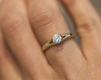 14K Yellow Gold Natural Diamond Engagement Ring, Ring For You, Brilliant Engagement Ring, Solitaire Engagement Ring, 4 Prong Engagement Ring