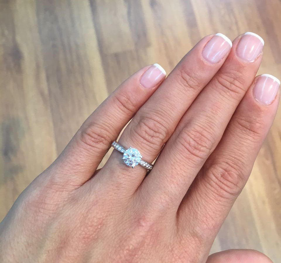 Diamond Engagement Ring 14K White Gold 2 Carat Round Cut | Etsy