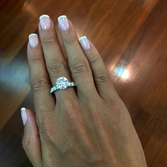 Diamond Engagement Ring 3 Carat Diamond Ring White Gold Etsy