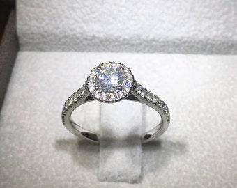0.5 Carat Halo Ring, Diamond Engagement Ring, Halo Diamond Ring, 14k White Gold Ring, Diamond Gold Ring, Engagement Accessory FREE SHIPPING