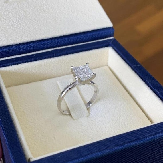 Amazing Princess Shape 4.00 Carat Real 14KT Yellow Gold Solitaire Wedding Ring