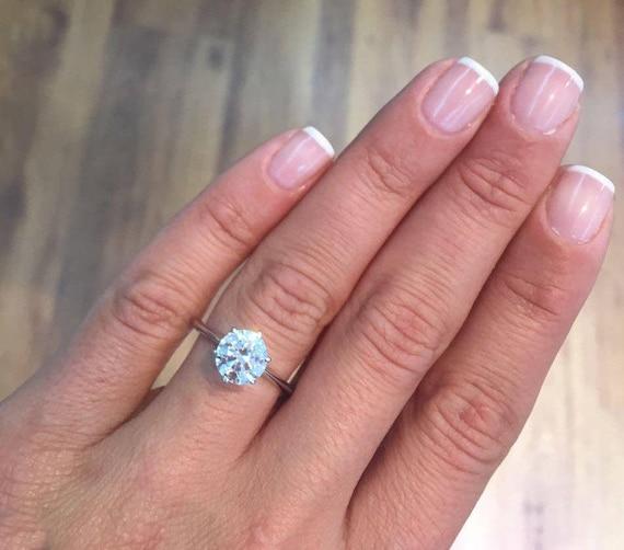 3 Carat Round Solitaire Diamond Engagement Ring 14k 18k Gold Etsy