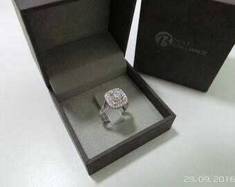 Double Halo Ring, Halo Diamond Ring, Diamond Engagement Ring, Engagement Gift For Her, Diamond Gold Ring, Engagement Accessory, Halo Diamond