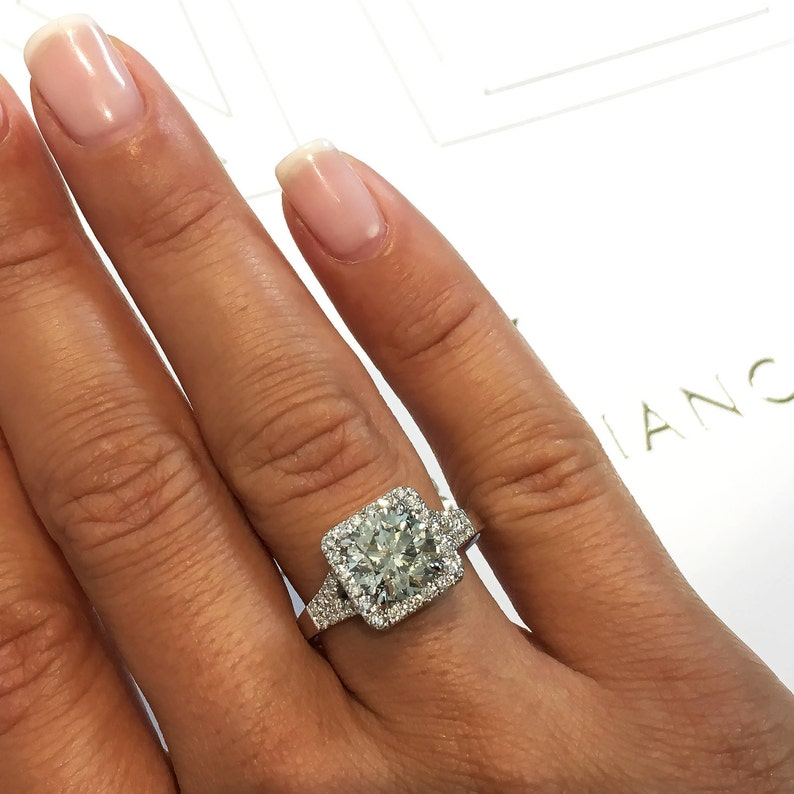 2 5 Carat Halo Ring Round Diamond Cushion Halo Style Diamond Engagement Ring Cushion Cut Engagement Ring 14k White Gold Ring Big Diamond