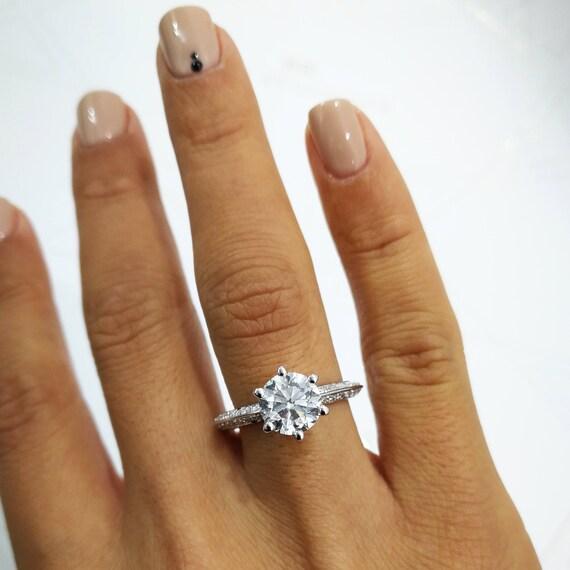 Engagement Ring 2 Carat Diamond Engagement Ring Set 14k Etsy