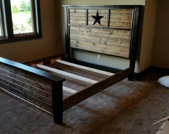 Rustic star queen bed