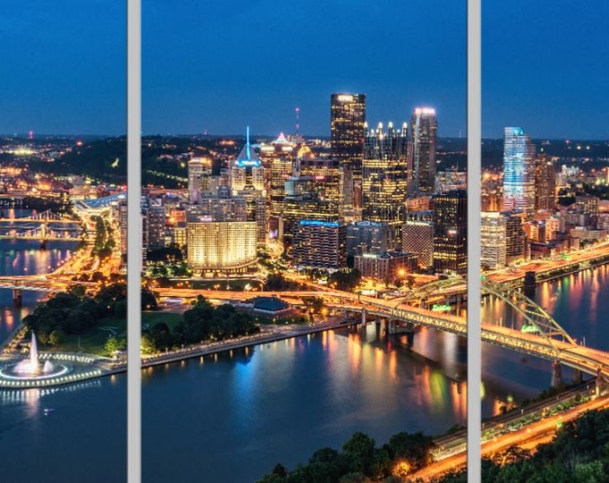 Aerial Black and Gold Pittsburgh Triptych Various formats