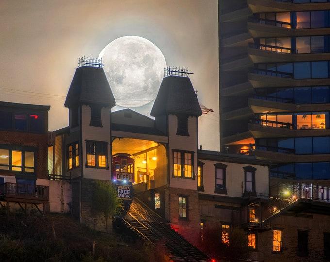 An eerie moonlit night - Pittsburgh skyline - Various Prints