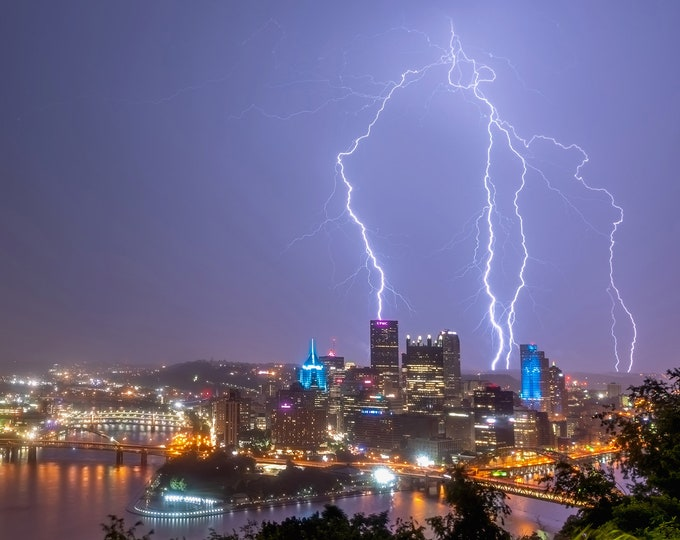 Lightning rains down over Pittsburgh - Pittsburgh skyline - Various Prints