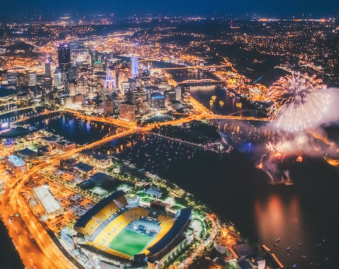 Aerial Fireworks in Pittsburgh - July 4th, 2021 - Various Prints