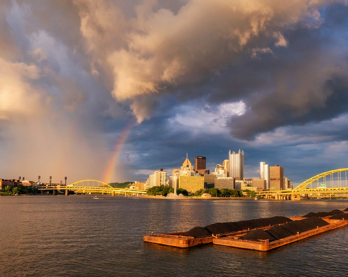 The End of the Rainbow in Pittsburgh - Pittsburgh skyline - Various Prints