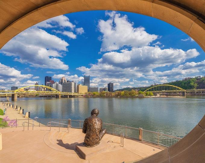 A beautiful day in Mr. Rogers' Neighborhood - Pittsburgh skyline - Various Prints
