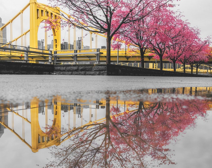 Colorful reflections after the rain - Pittsburgh skyline - Various Prints