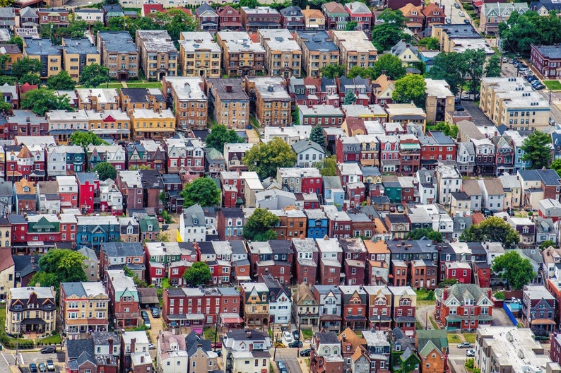 An aerial view of the houses near the University of Pittsburgh in Oakland -  Various Prints
