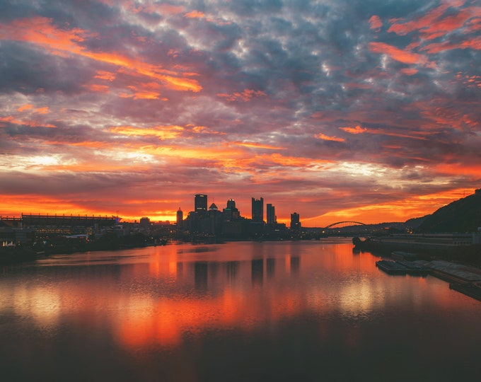 Layers of color at dawn - Pittsburgh skyline - Various Prints