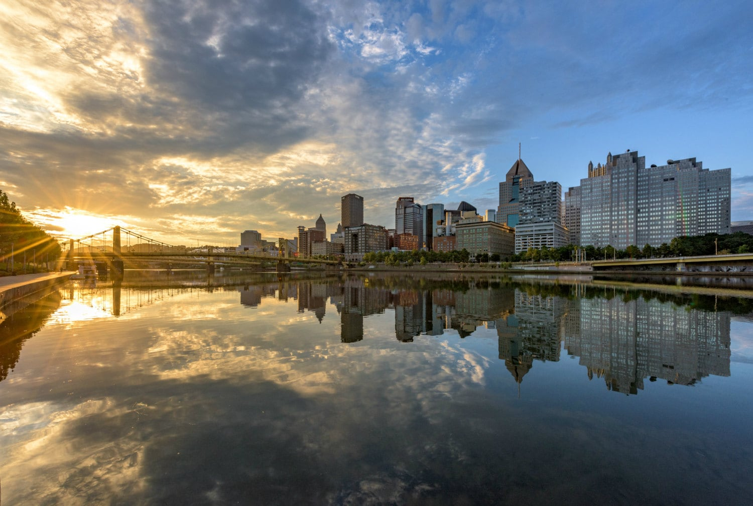 A beautiful sunrise reflects in the Allegheny River in Pittsburgh - Various  Prints
