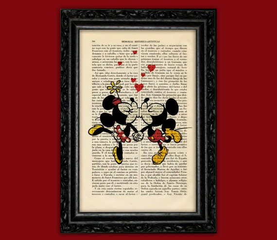 Mickey Minnie Mouse Retro Kiss Art Print Mickey Minnie Old Etsy