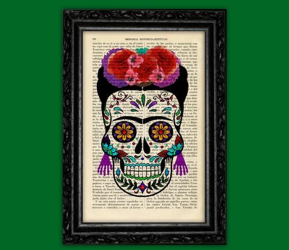 Frida Khalo Sugar Skull Print Dia De Los Muertos Poster Dorm Etsy
