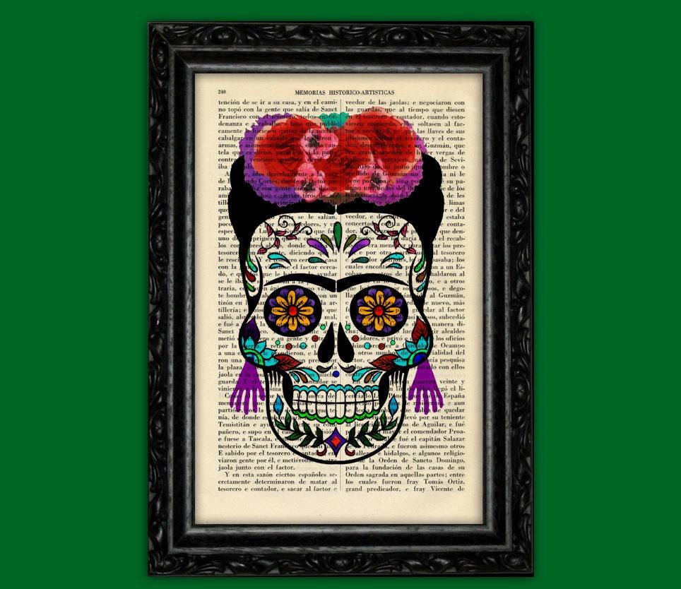 Zucker Schädel FRIDA KHALO Mädchen drucken Día de Los Muertos | Etsy