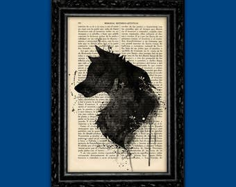 Wolf Silhouette Art Print Dictionary Print Animal Art Vintage Wolf Portrait Original Gift Wall Art Animal Poster Wolf Poster Animal (Nº74)
